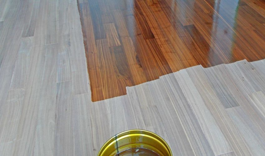 Hardwood floor with a conversion varnish finish